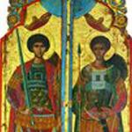 Великомученики Георгий Победоносец и Димитрий Солунский.