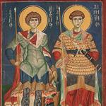 икона святых великомучеников Георгий и  Димитрий