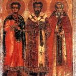икона Димитрий Солунский, Мартирий Зеленецкий и Иоанн Златоуст
